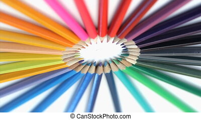 Color pencils rotating - Color pencils oblique view rotating...