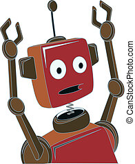 Cartoon Robot surprised expression - Shocked confused upset...