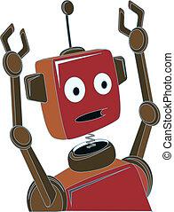 漫画, ロボット, 驚かされる, 表現