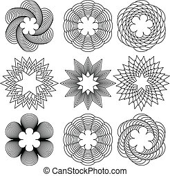 Spirals - Set of a nine black spirals pattern