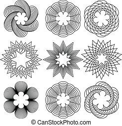 Spirals - Set of a nine black spirals pattern