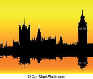 silhouette of the London landscape on an orange background