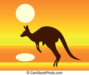 silhouette of a kangaroo on an orange background