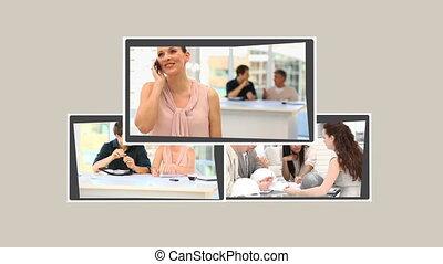 Montage of people in meetings