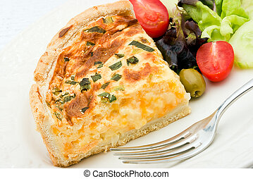 Quiche with salad - A delicious quiche with cheese and leeks...