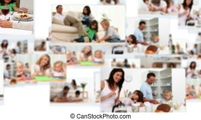 Montage of couples spending time with their children at home