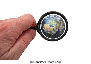 Earth with magnifying glass