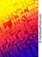 Multicolored electronic components abstract background