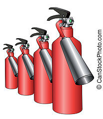group of red fire extinguishers