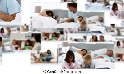 Montage of an happy family