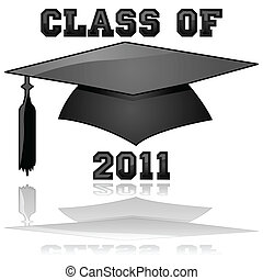 Class of 2011 graduation - Glossy illustration of a hat and...