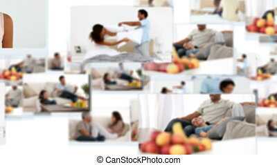 Montage of joyful couples relaxing and laughing at home