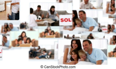 Montage of families having fun together at home