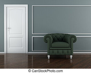 Classic interior 3D render - The Green Armchair