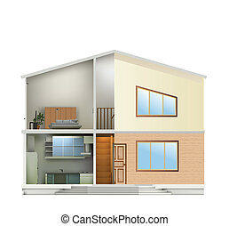 House cut with interiors and part facade. Vector