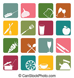 Food square icons set - Illustration vector