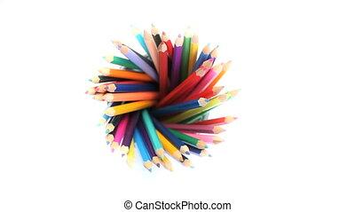Color pencils in a pencil holder - Several color pencils in...