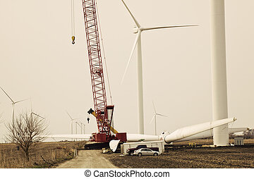 Wind Farm - construction. Seen in Indiana