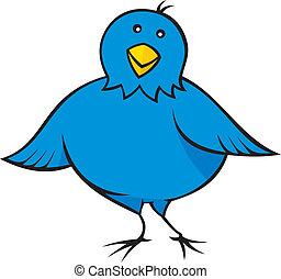 Little blue bird cartoon looking at you.