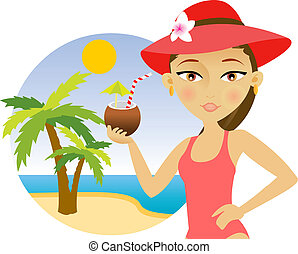 Woman on the beach with a cocktail