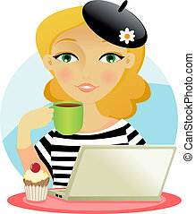 Woman taking coffee - Pretty young girl taking coffe with a...