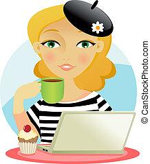 Woman taking coffee