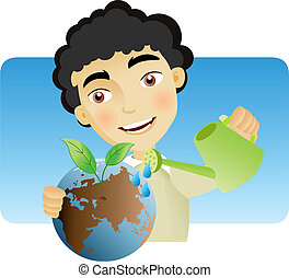 Taking care of the Earth - Man man watering the earth with...