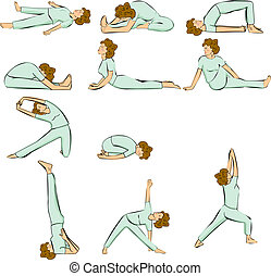Yoga poses - Redhair woman in Yoga Position Multiple Poses