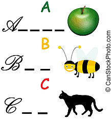Word game - Alphabet word game with letter A, B and C...