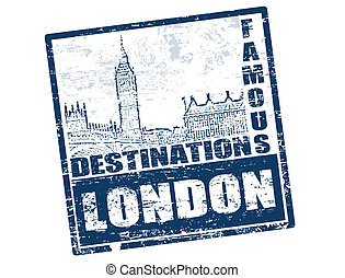 London stamp - Blue grunge rubber stamp with the building of...