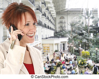 Woman on Cellphone at Opryland Hotel