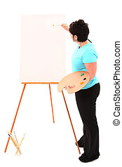 Overweight Woman at Easel Painting with Clipping Path -...