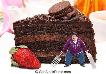 mulher, Gigante, prato, chocolate, bolo
