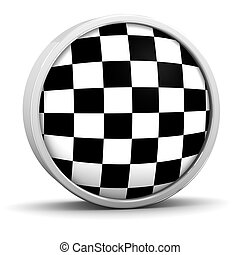 Checkered flag with circular frame. Part of a series.