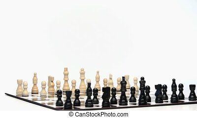 Chess game rotating on a white background