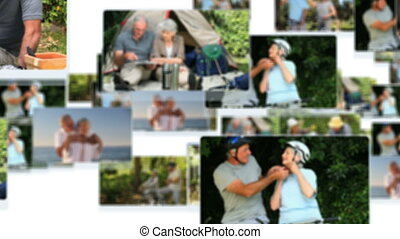 Montage of mature couples relaxing and cycling outdoors