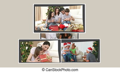 Montage of families opening their p
