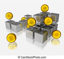 different element  - 3d illustration of spheres and cubes