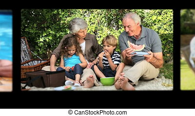 Montage of grandparents spending time together and with...