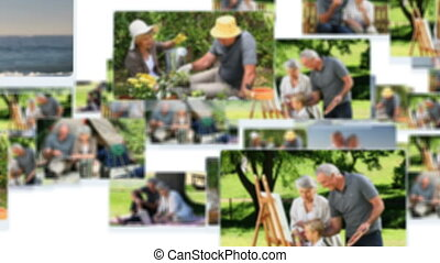 Montage of mature couples spending time together outside