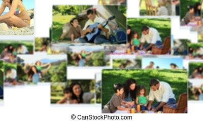 Montage of lovely families having fun together outside