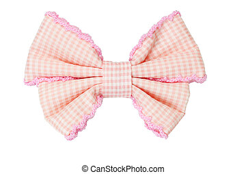 Hiar bow - Hair bow checked pattern ribbon isolated on white...