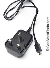 Mobile phone battery charger and adapter on white background