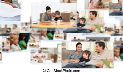 Montage of lovely families having great times together at...