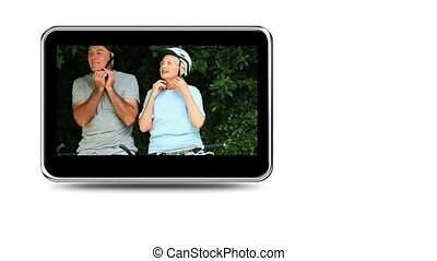 Montage of mature couples cycling - Montage on mobile screen...