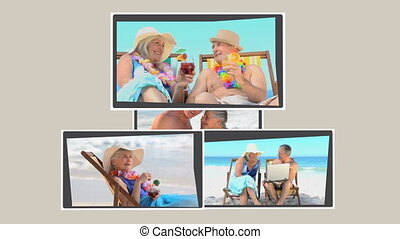 Montage of mature couples relaxing on the beach during ther...