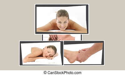 Montage of a  woman relaxing in a massage salon