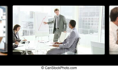 Montage of business people talking together during meetings