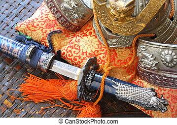 samurai, casco, espada