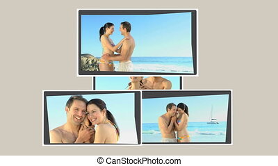 Montage of a cute couple relaxing o